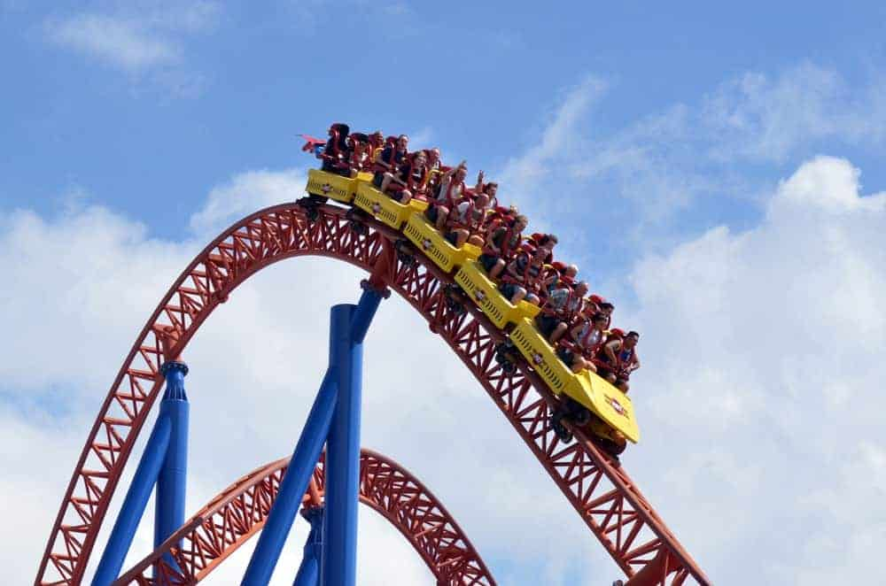 A group of people riding an accelerator coaster in Australia.