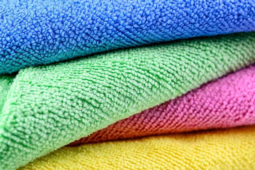A close look at colorful microfiber beach towels.