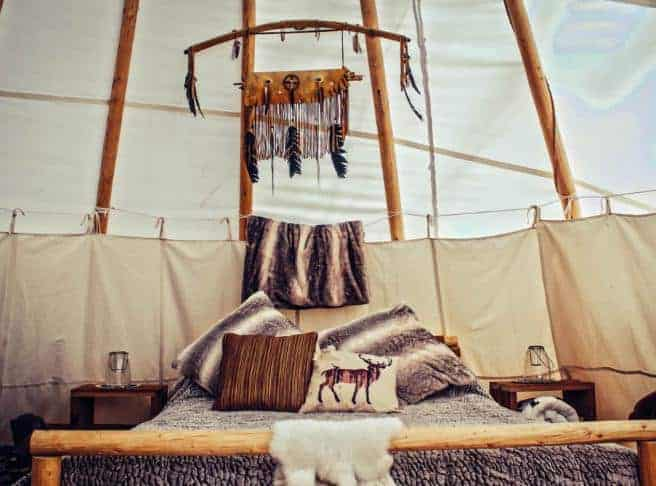 This is a look at the bed area of the interior of the tipi.
