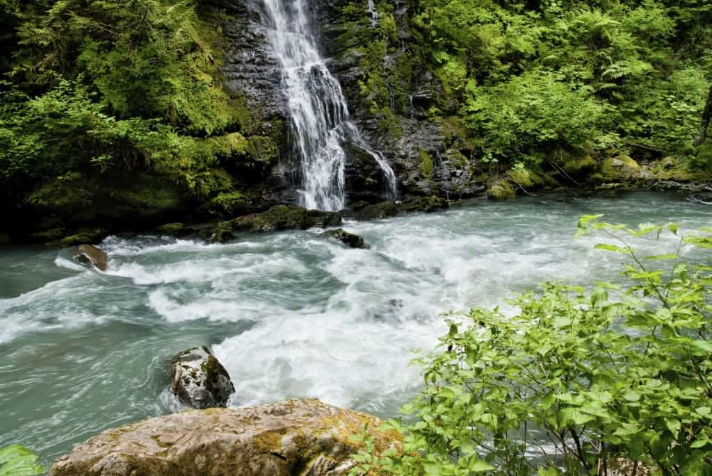 A look at Boulder Falls flowing onto the Boulder River in Washington.