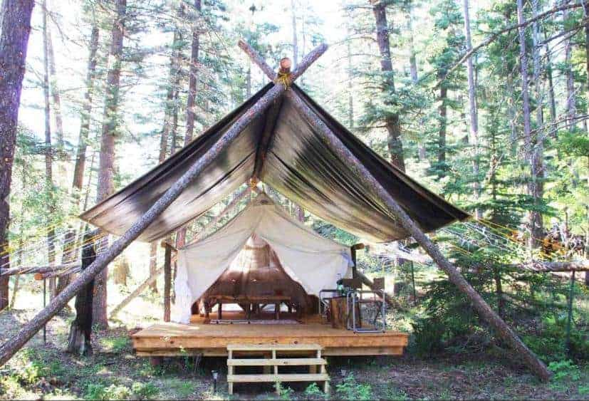 A luxury glamping tent at Camp Chama.