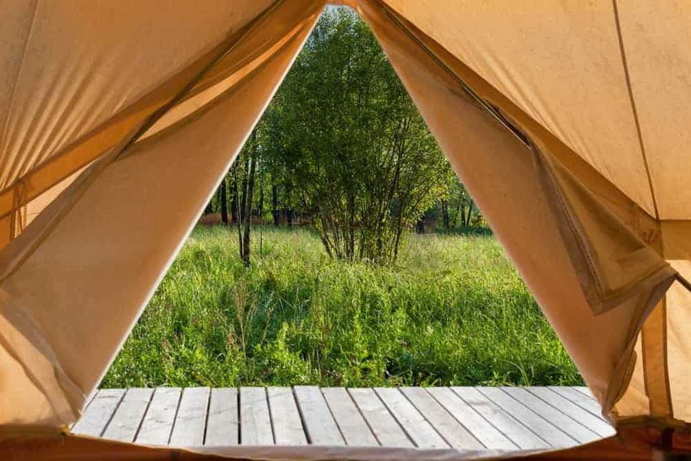A view from inside the glamping tent in Camp Karma in Bedford.