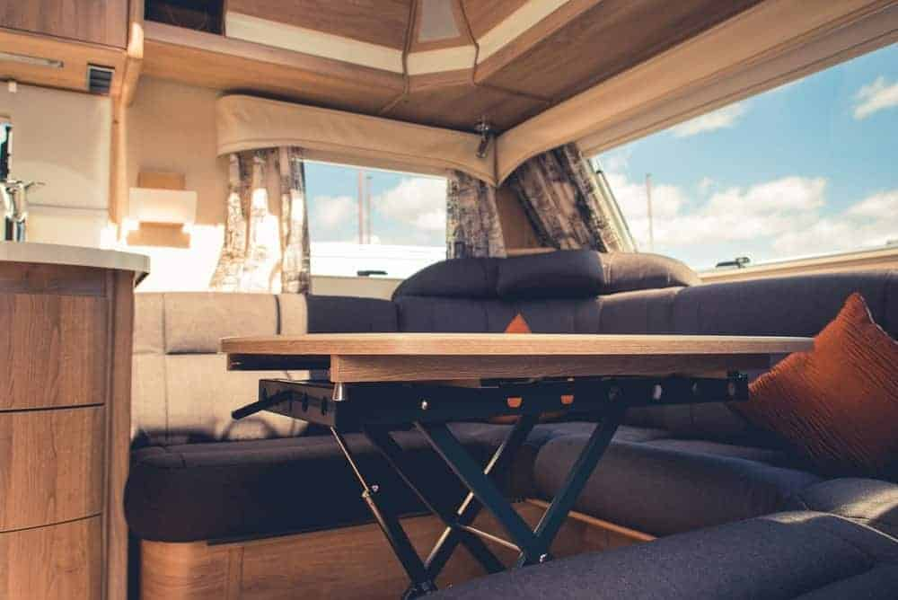 The interiors of an RV used for dry camping.