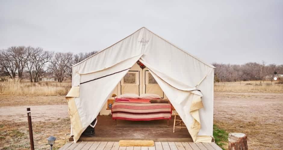 A bright luxury tent in El Cosmico, Marfa.