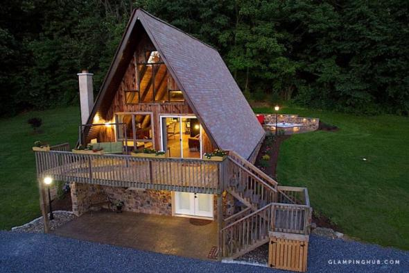 A look at a wooden cabin in Robesonia, Pennsylvania.