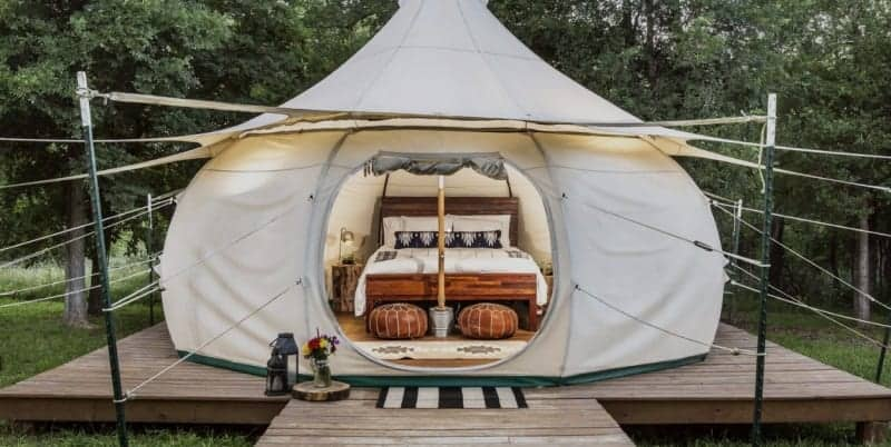 One of the luxurious yurts of Green Acres in Elgin, Texas.
