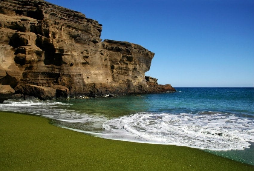 A look at Green Sand Beach with sea cliffs at Big Island.