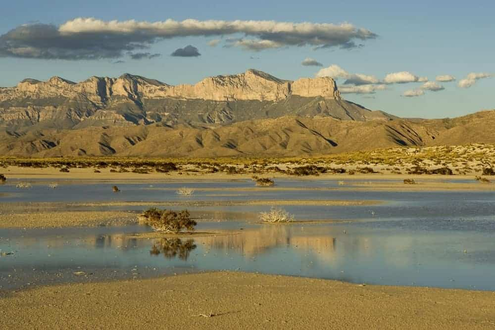 The Guadalupe Peak and El Capitan as seen from the sand flats.