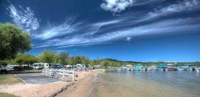 This is an RV Park next to Lake Leelanau.