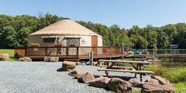 A look at one of the yurts inside Lake in Woods Resort.