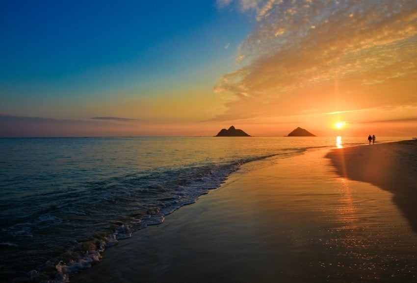 A beautiful Pacific sunrise at Lanikai Beach in Hawaii.