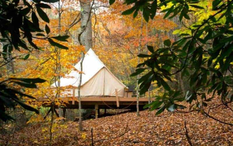 A luxury tent on a wooden raised platform in the woods.