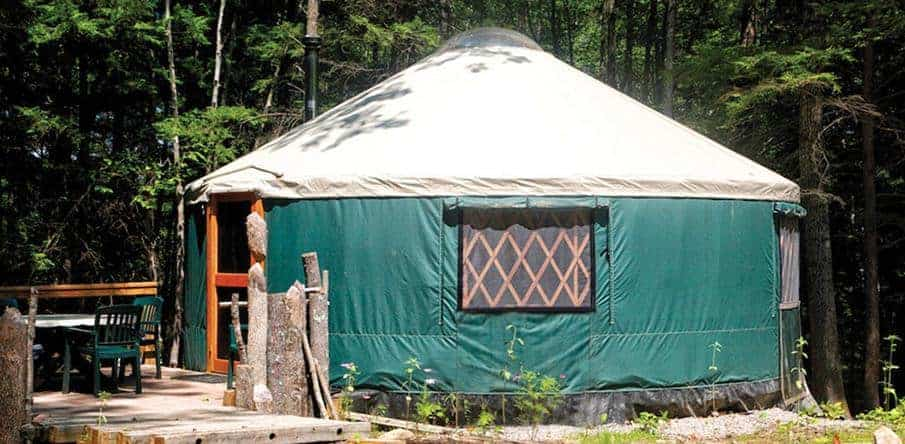 A look at one of the yurts in Maine Forest Yurts.