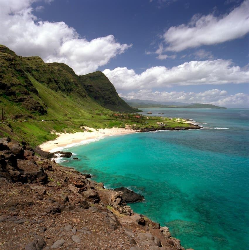 An aerial view of Makapuu Beach Park Koolau Cliffs in Oahu.