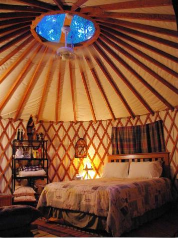 North Carolina glamping tent interior of a yurt.
