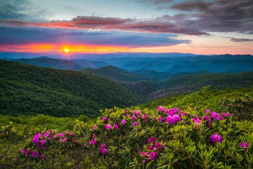 North Carolina mountains with sunrise as a backdrop.