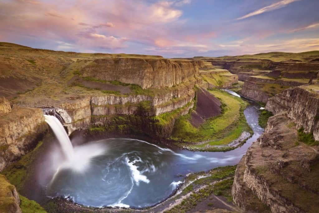 An aerial view of Palouse Falls in Washington after sunset.