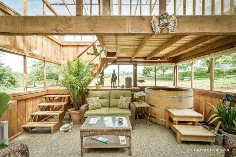 The interior of a Peaceful Cedar Green House near Silverton.