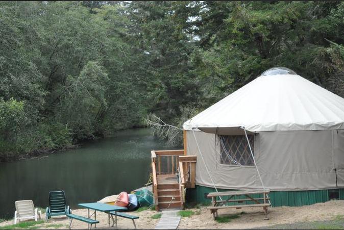 A look at riverside yurt in Siltcoos Lake Resort.