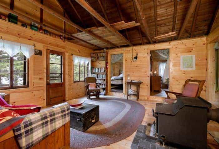 The interior of Lintongan Cabin at Spencer Pond Camp.