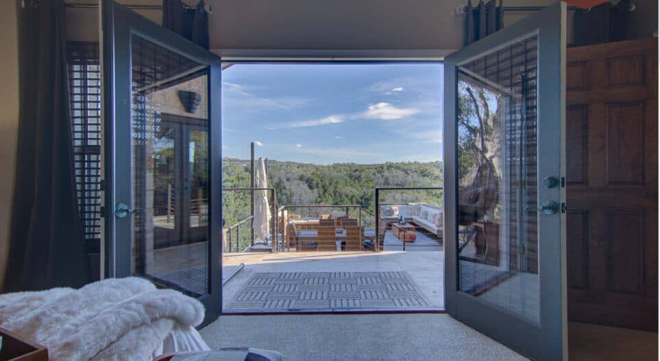 A look at the sweeping balcony view of the The Casita in Spicewood, Texas.