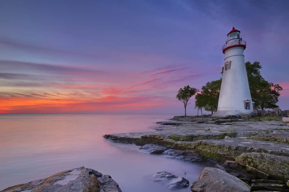 The Marblehead Lighthouse on the edge of Lake Erie in Ohio.