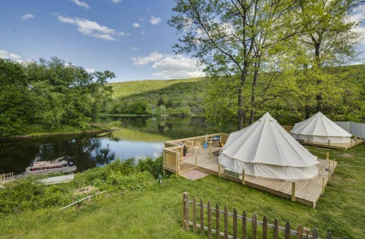 A look at a couple of waterfront yurts in Shawnee Inn.