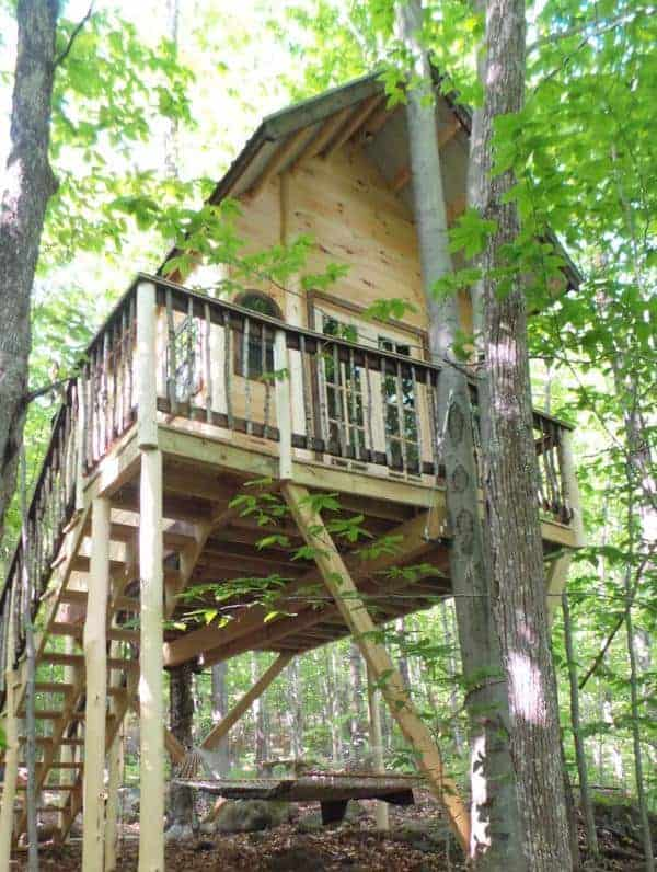 One of the large wooden tree houses of the Timber Stone Adventures Tree Houses.