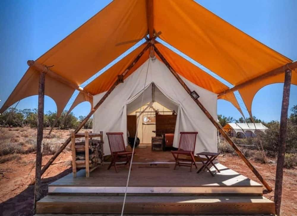 A look inside one of the tents of Under Canvas Luxury Tents.