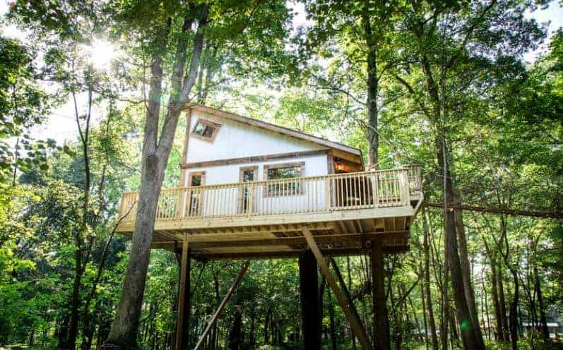 A unique woodland tree house in Loudonville, Ohio.