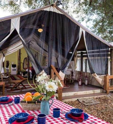 A close look at one of the tents of Westgate River Ranch.