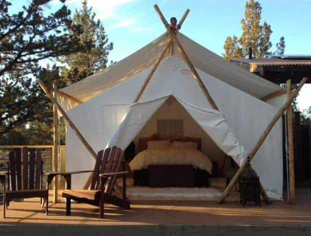 A look at a white luxury tent in Panacea at the Canyon.