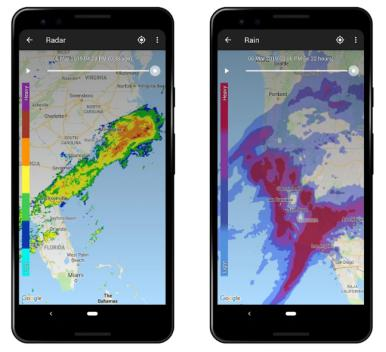 These are a couple of screenshots of the Weather Live app.