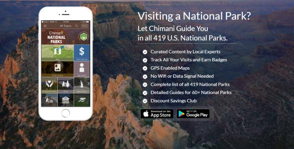 This is a screenshot of the National Parks by Chimani app homepage.