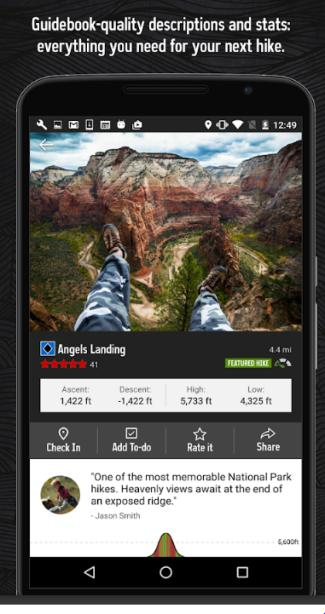This is a screenshot of the Hiking Project app.