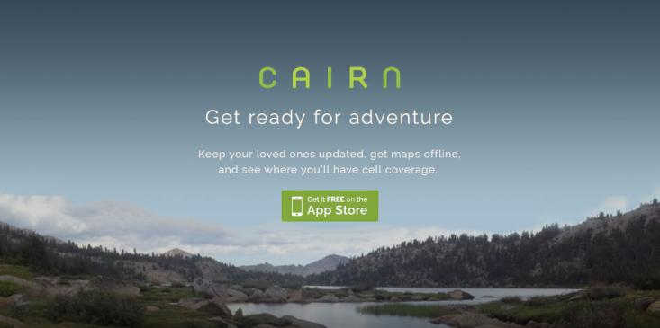 A screenshot of the Cairn app homepage.