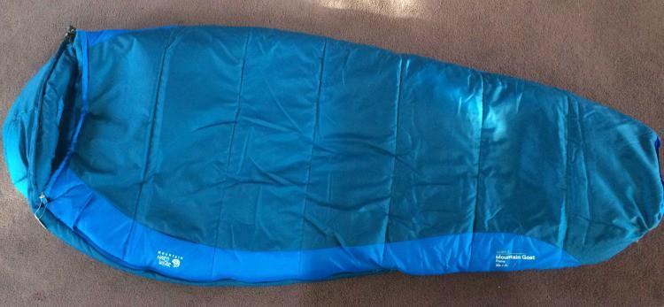 A blue Mountain Hardwear Mountain Goat Flame sleeping bag.