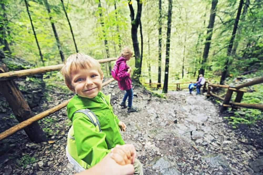 A boy smiling on a hike in the woods through a trail.