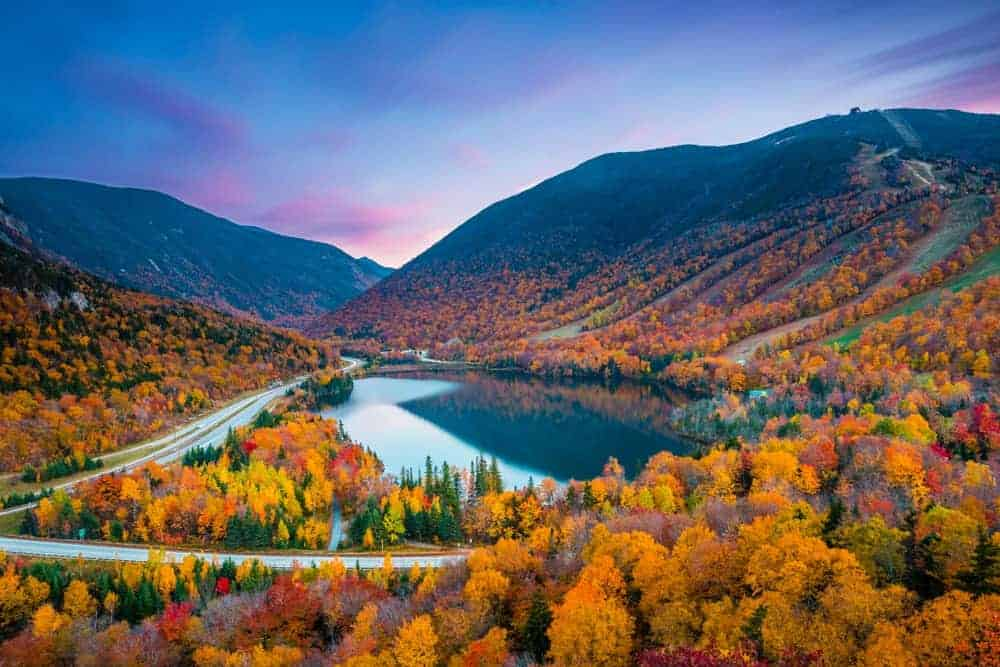 This is an aerial view of Cannon Mountain at fall.