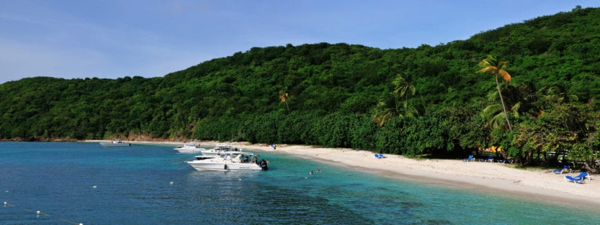 The forested island of Palomino off the coast of Puerto Rico has two large beaches. One is privately owned and reserved for the owners, while the other is leased to a resort hotel. The gorgeous blue waters are a popular destination for all sorts of water activities.