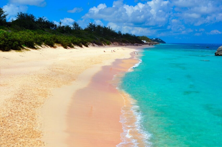 The beautiful, unique beaches of Barbuda are known for the pink sand along the shore. The island is not a popular tourist destination, and much of the island is still a small village. The amount of pink sand varies from spot to spot, with some places having very little, like the above photo, and others incredibly vibrantly pink.