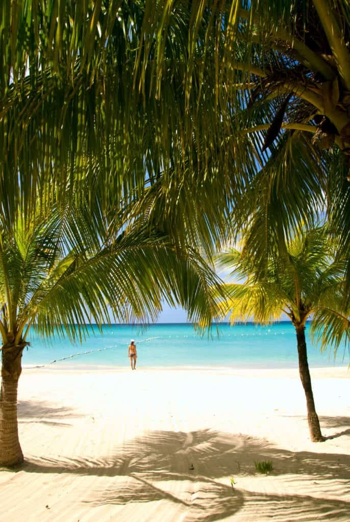 The palm trees and white sand of this wide beach lead out into the shallow, warm water off the coast of Jamaica. The swimming area of this private beach is roped off by buoys. The shallows of the swimming area end at a sharp drop off.
