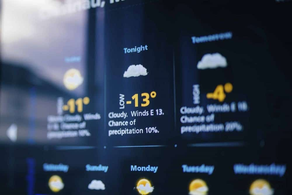 A close look at the weather forecast on a digital display.