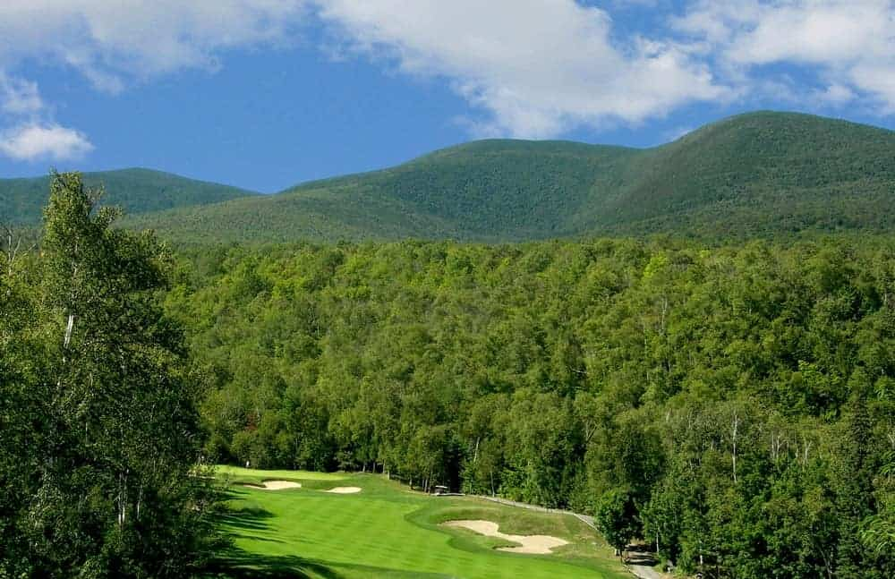 A view of Crocker Mountain from the golf course below.