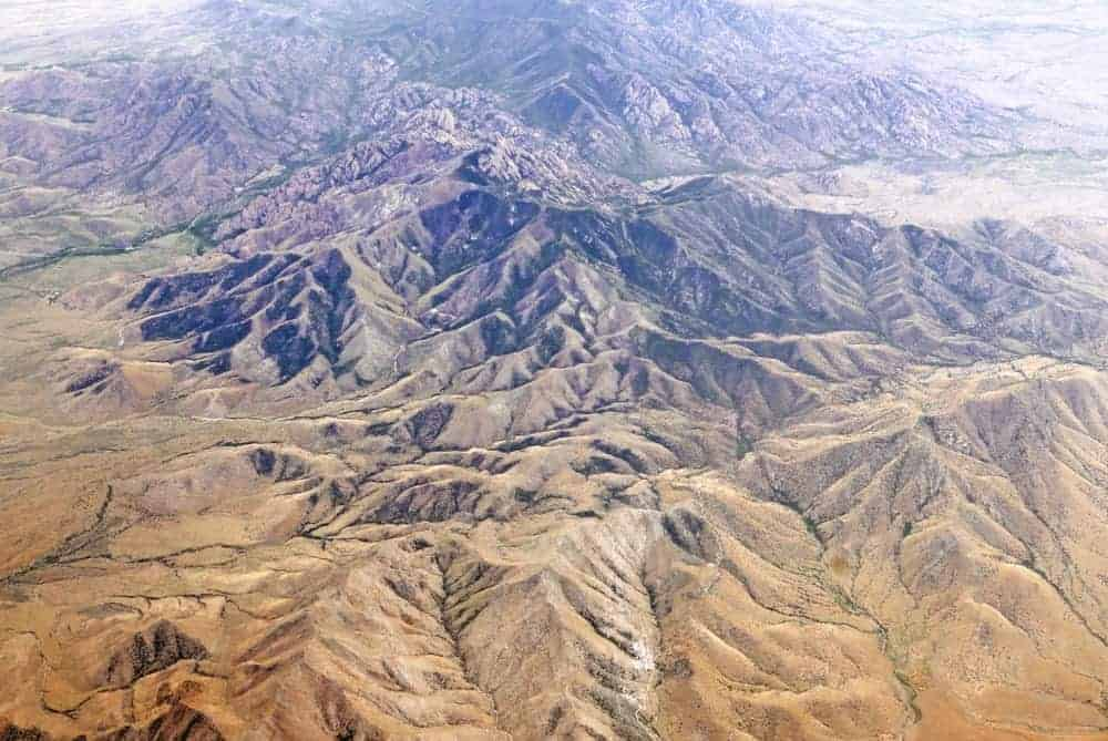 This is an aerial view of the Dragoon Mountains.