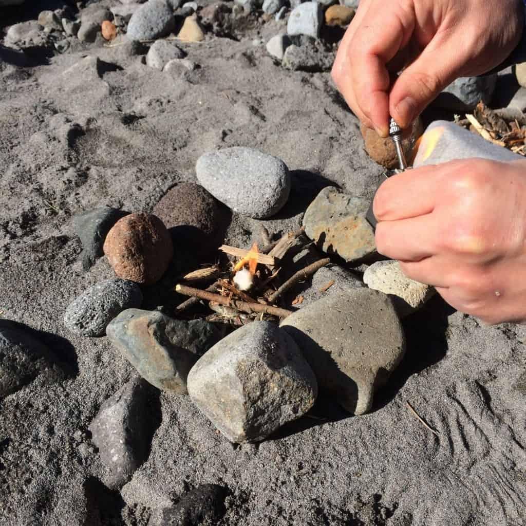 An Everstrike fire starter with a flammable cotton ball.