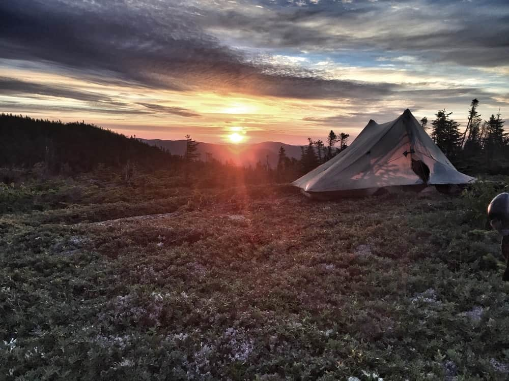 A scenic view of the sunrise at Goose-eye Ridge.