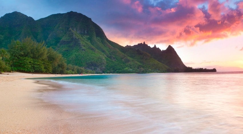 A beautiful sunset against the NaPali Coast in Kauai.