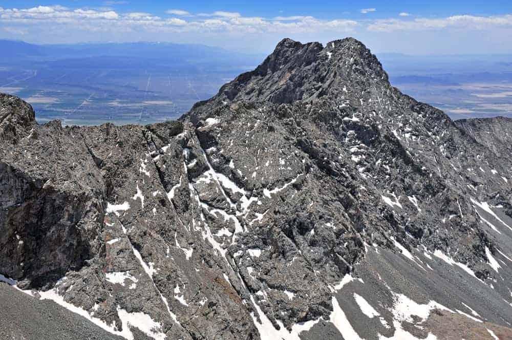 A close look at the peak of Little Bear Peak.