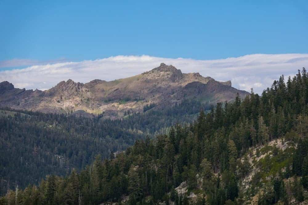 This is a scenic view of Lookout Peak from afar.
